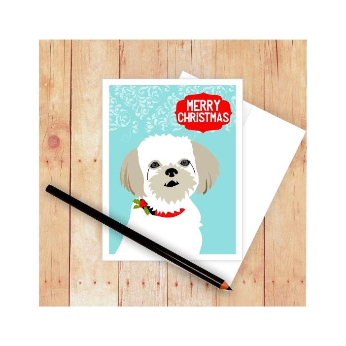 Shih Tzu Christmas Card Dog Christmas Card Set Dog Lover | Etsy