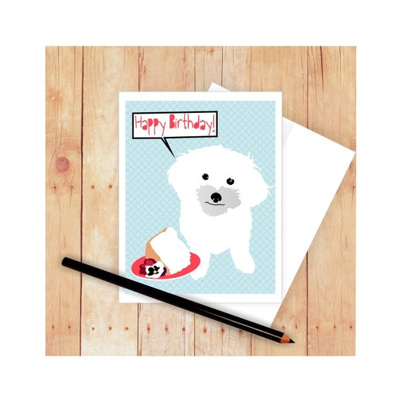 Maltese Happybirthday Card Maltese Mothers Day Card Dog Etsy