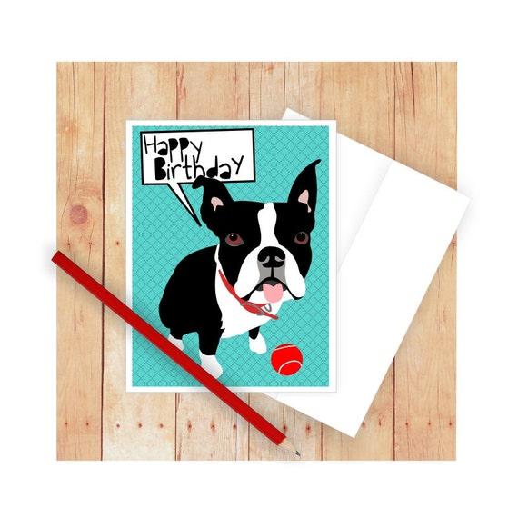 Boston Terrier Birthday Card Thank You Card Dog Greeting Etsy