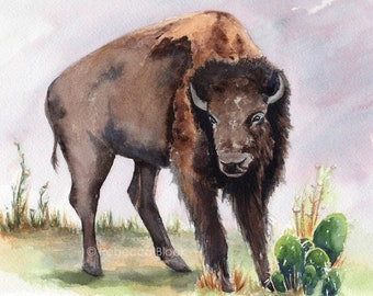Bison Buffalo POSTER print of watercolor illustration - Wild West Texas Southwest art
