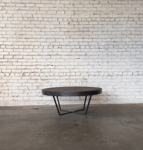 Etsy Round Coffee Tables: Round Dark Oak Steel Coffee Table