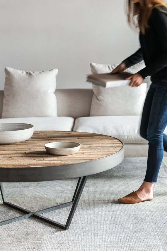 Reclaimed Wood Round Coffee Table, Round Reclaimed Wood Coffee Table