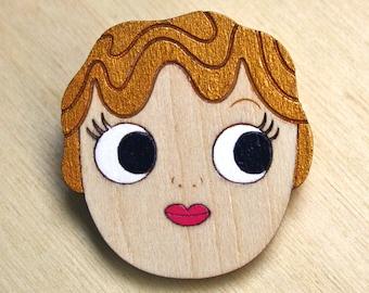 Kewpie lasercut hand painted brooch