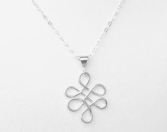 Sterling Silver, Love Knot, Necklace, Pendant, Handcrafted,Celtic, cable chain, Silver Love Necklace