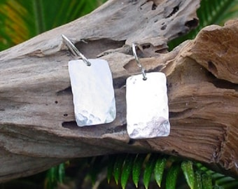 Sterling Silver Golden Rectangle, Drop Earring, Dangle, Silver Earring, Hammered, handcrafted, forged, silver rectangle