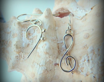 Musical Earrings, Treble & Bass, Dangle Earrings, Music Signature, Sterling Silver, Handcrafted by Lynda Keen, gift, music