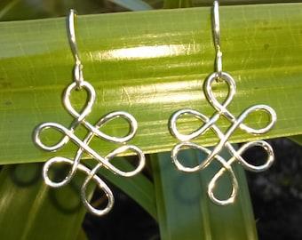 Sterling Silver Earrings,Love Knot, Dangle Earrings, Drop Earrings, Celtic knot, Handmade, Mother's Day