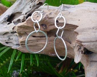 Link Earrings in Sterling Silver, Dangle Earrings. Handmade, Drop Earrings, circle earrings, 3 links