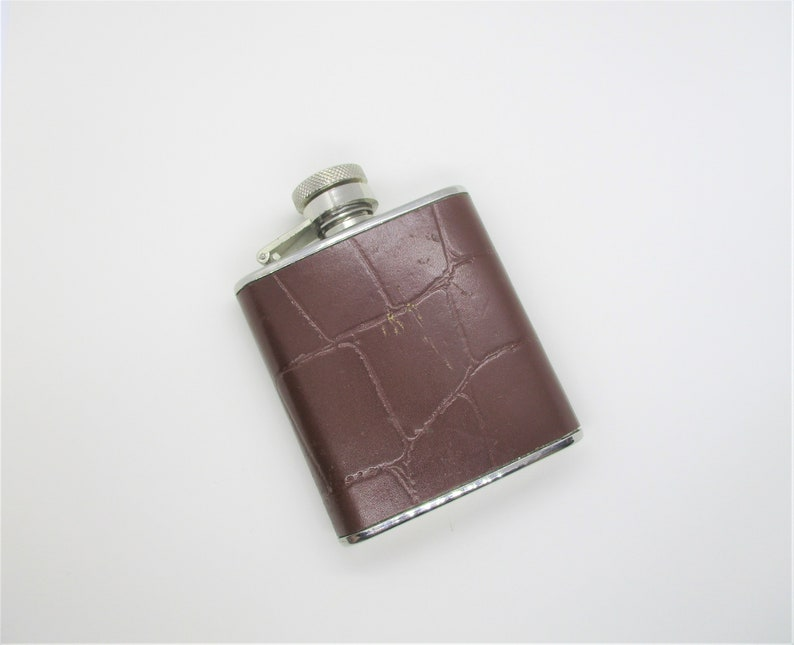 Stainless steel hipflask: Mini sized stainless steel & brown image 0