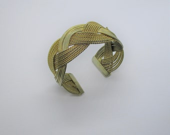 Gold braid cuff: Sweet, chunky gold plated braided strands 1960s costume statement cuff bracelet, braided gold tone plait cuff bracelet