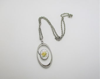 Porcelain pendant necklace: Unusual yellow rose screenprinted porcelain and silver plated oval statement pendant, pottery pendant necklace