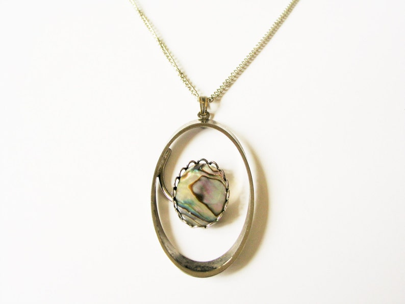 Abalone pendant necklace: Unusual circular green polished image 0