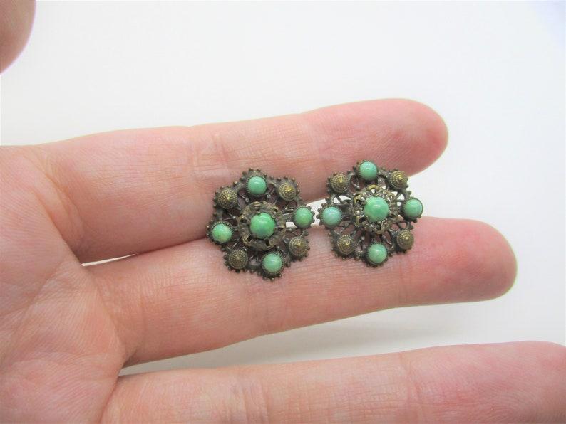 Peking glass earrings: Cute filigree brass and green peking image 0
