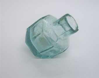 Antique ink bottle: shabby chic antique Victorian blue-green etched glass ink bottle, inkwell, antique bottle, glass ink bottle