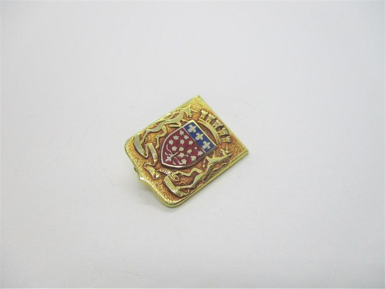 Vintage crest brooch: Lovely gold tone red & blue enamel image 0