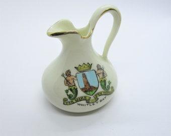 Mermaid crestware jug: cute stylised miniature Florentine China Crestware Whitley Bay milk jug ornament, screen printed with mermaids
