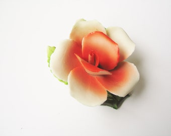 Italian Capodimonte rose: Highly collectable Italian Porcellane Capodimonte porcelain scarlet rose flower trinket ornament