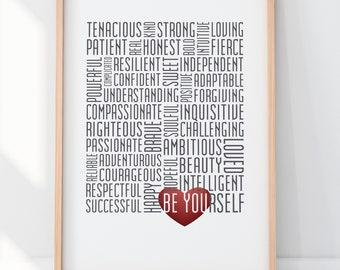 Be Yourself Print Word Art Subway Art Girl Power Print