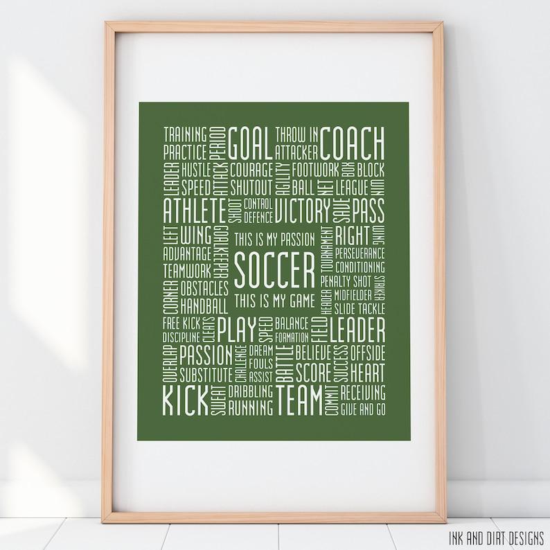 Soccer Print 8x10 Soccer Typography Print Soccer Poster Soccer image 0