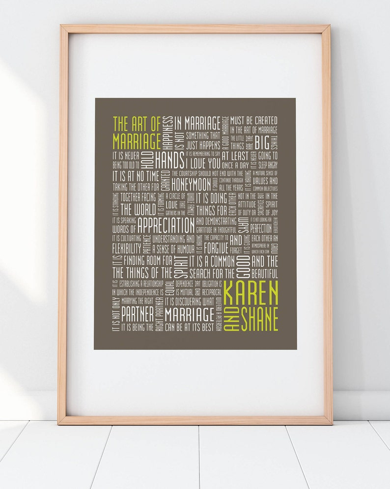 The Art of Marriage Customizable Typography Print 8x10 Word image 0