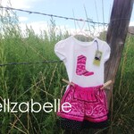 Cowgirl Pink Bandana Skirt Set Custom Sizes 12m, 3T, 4T, 5, 6 with Cowboy Boot, Western Star, or Horse Head Applique Short Sleeve Shirt