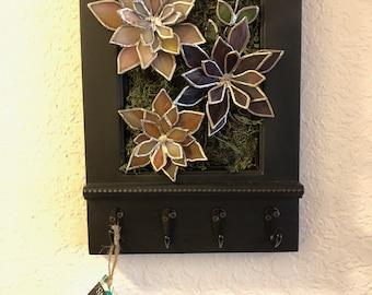 Succulent Garden, Wall Organizer with Hooks, Black