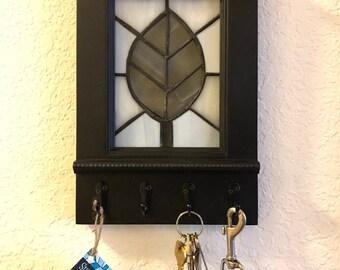 Gray Leaf, Wall Organizer with Hooks