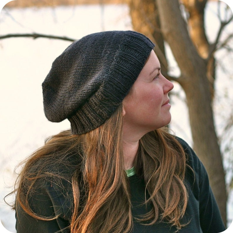 Knitting Pattern  Kendall Slouchy Beanie  Hipster  Knit Hat image 0