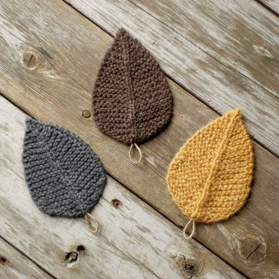 Knitting Pattern Autumn Leaves Leaf Knit Leaves Etsy