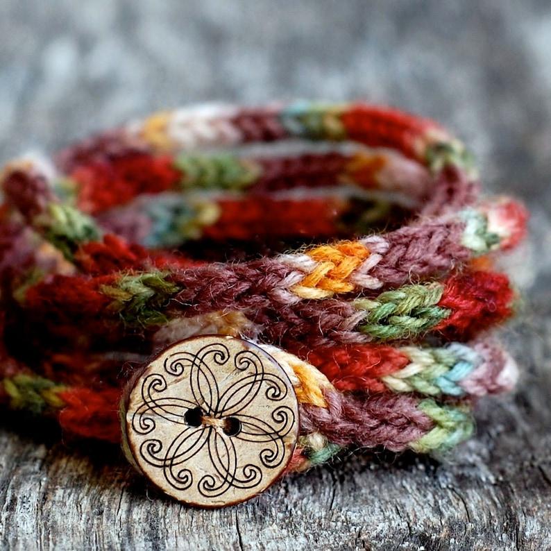 Women's Wrap Bracelet  KNITTING PATTERN  Rustic I Cord  image 0