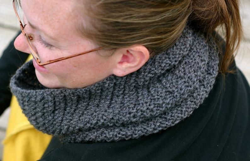 PDF Knitting Pattern  Knit Cowl  Scarf Tangent Spiral  image 0