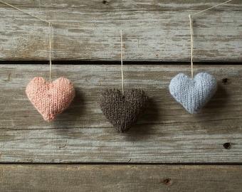 Valentine Stuffed Heart Knitting Pattern, Knitted Heart Ornament, Heart Shaped Softies, Tiny Heart Knitting Project