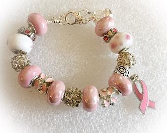 Breast CANCER AWARENESS  jewelry bracelets handmade