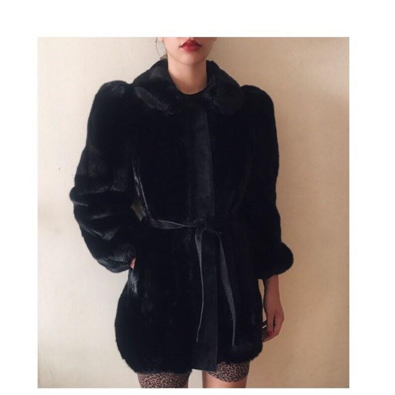 Vintage Lilli Ann black faux fur and leather jacket image 0