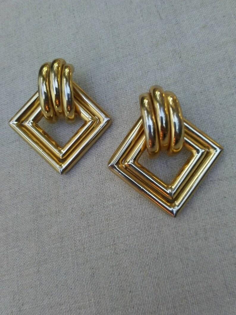 Large 1980's gold diamond-shape tube earrings image 0