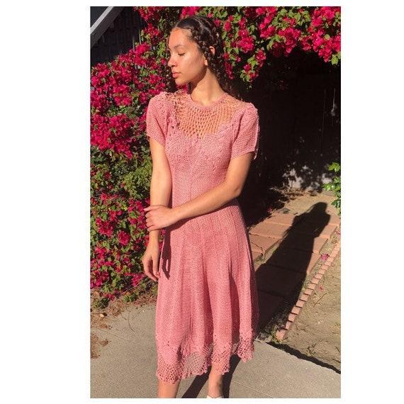 Lovely vintage 1930's pink crochet dress size smal