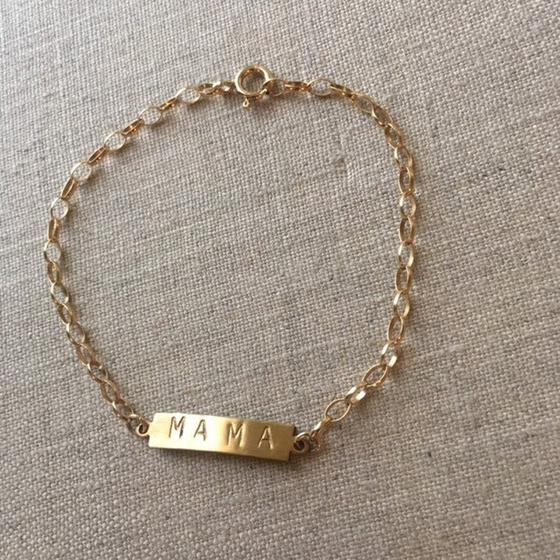 Reclaimed Stamped Brass ID MAMA bracelet on gold filled chain image 0