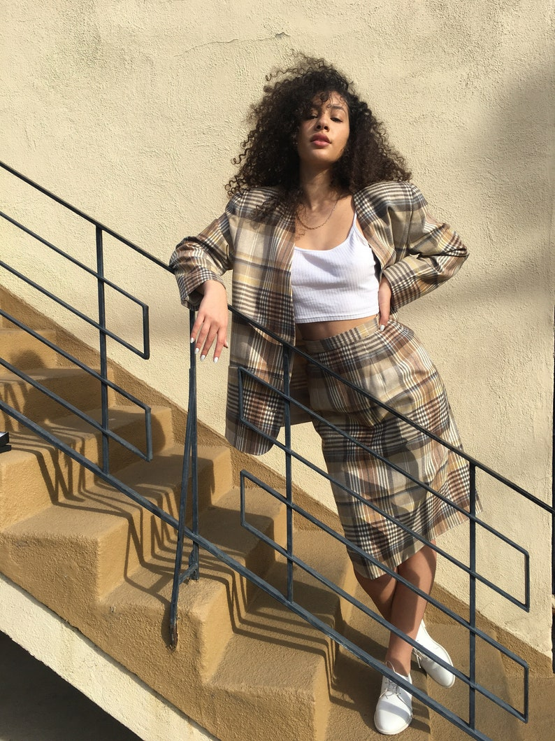Vintage Eighties muted plaid oversized womens suit size m image 0