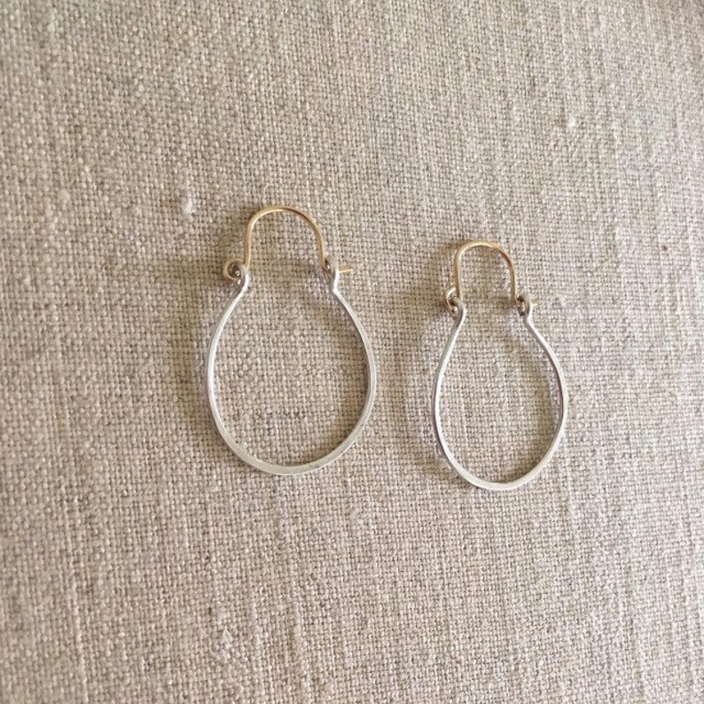 Mixed metal small silver hammered hoop earrings by Ankh By image 0