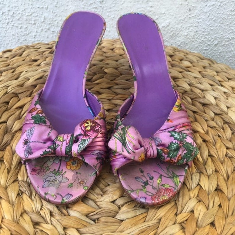 Vintage Gucci purple floral satin mules with bow size 6 image 0