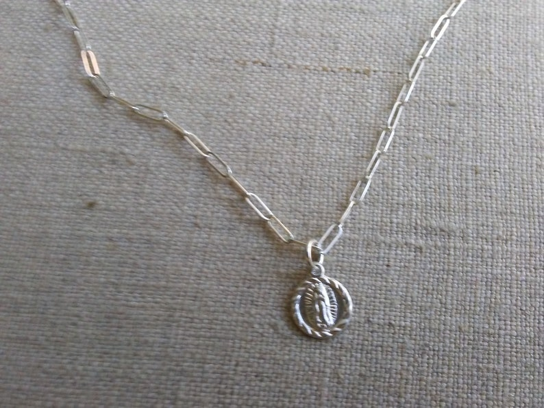 Silver tiny Virgin Mary charm necklace image 0