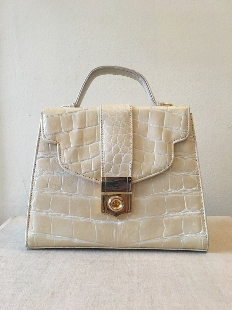 Vintage patent leather croc embossed structured leather purse image 0