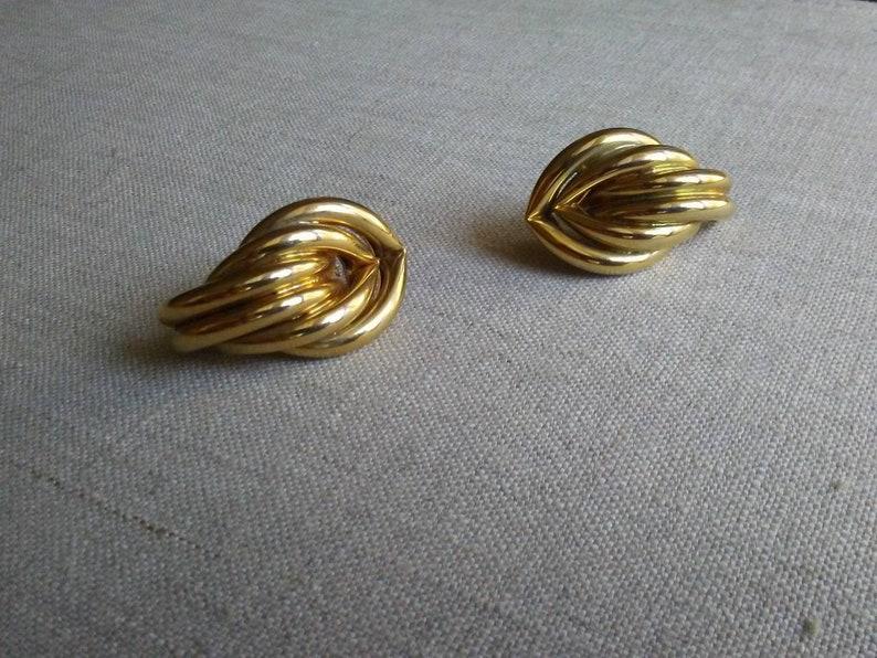 Lovely vintage sculptural gold tube earrings pierced image 0
