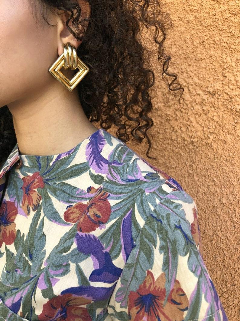 Gold tone large 1980's diamond shape tube earrings image 0