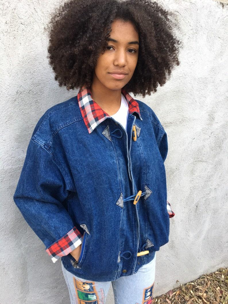 Vintage denim toggle jacket with plaid trim image 0