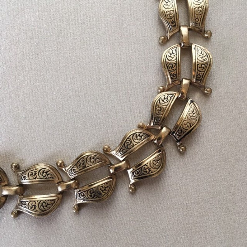 Brass Ornate Vintage Chain Necklace with Engraving image 0