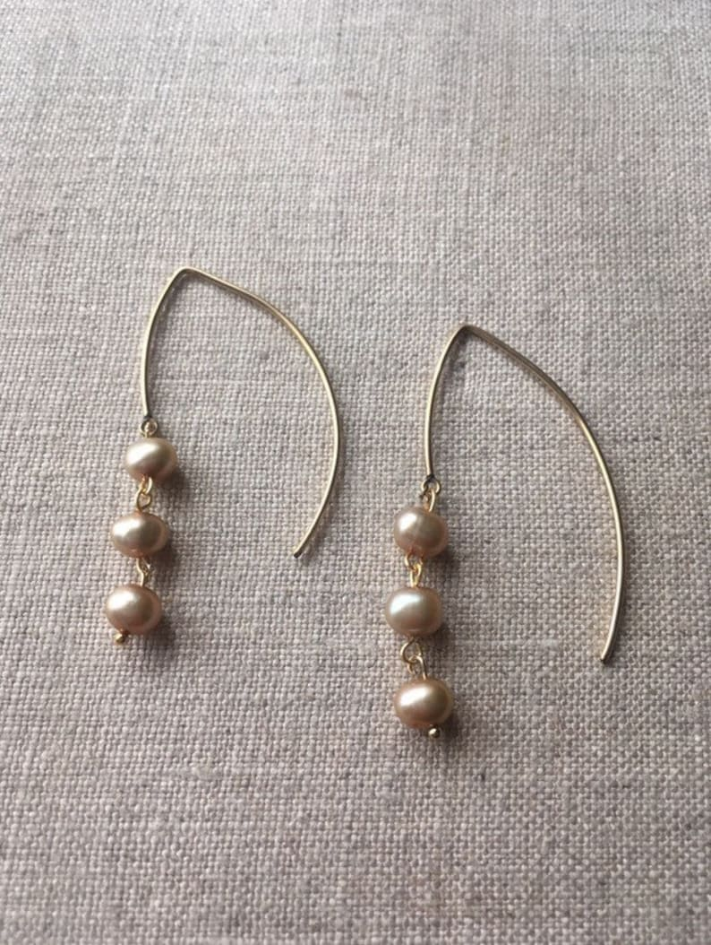 Authentic Pearl dangle earrings with large gold filled earwire image 0