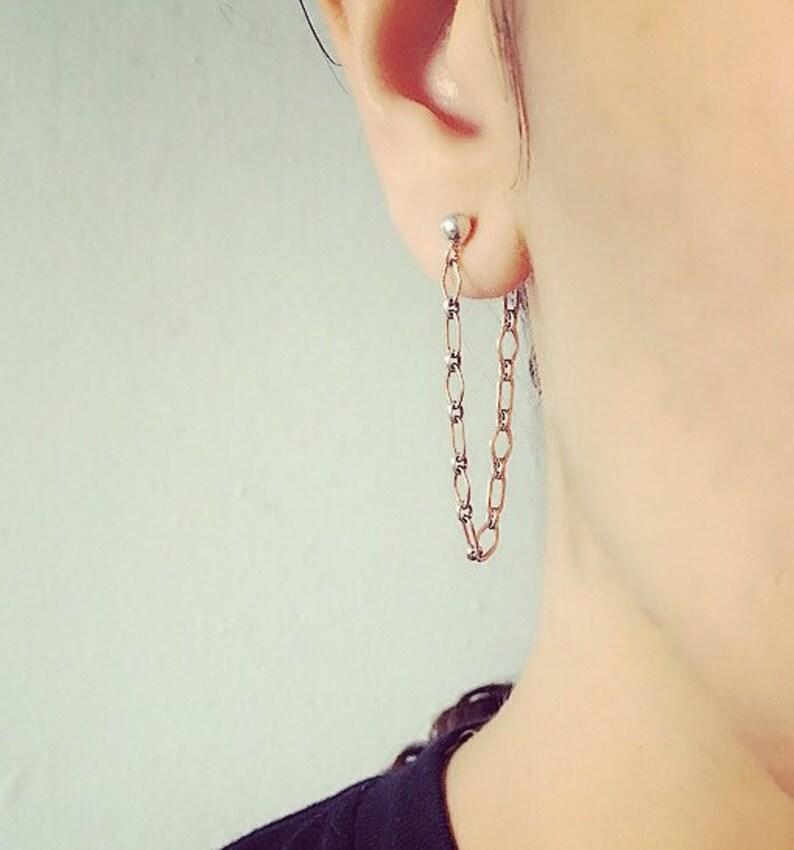 Sterling Silver dangle chain earrings image 0