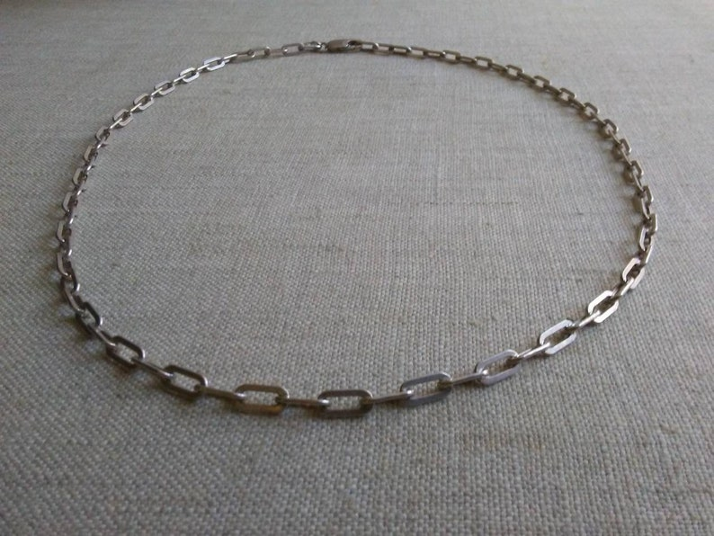Unisex Sterling silver elongated box chain necklace image 0