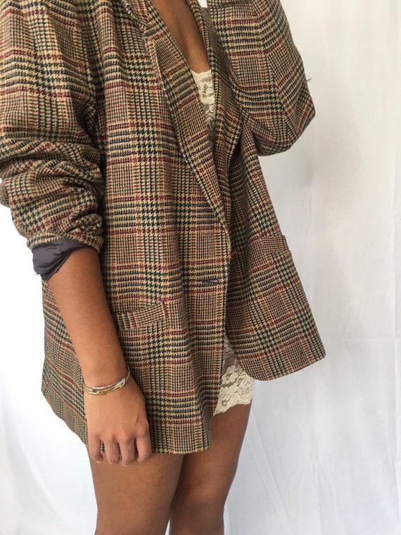 Vintage tan wool plaid houndstooth blazer